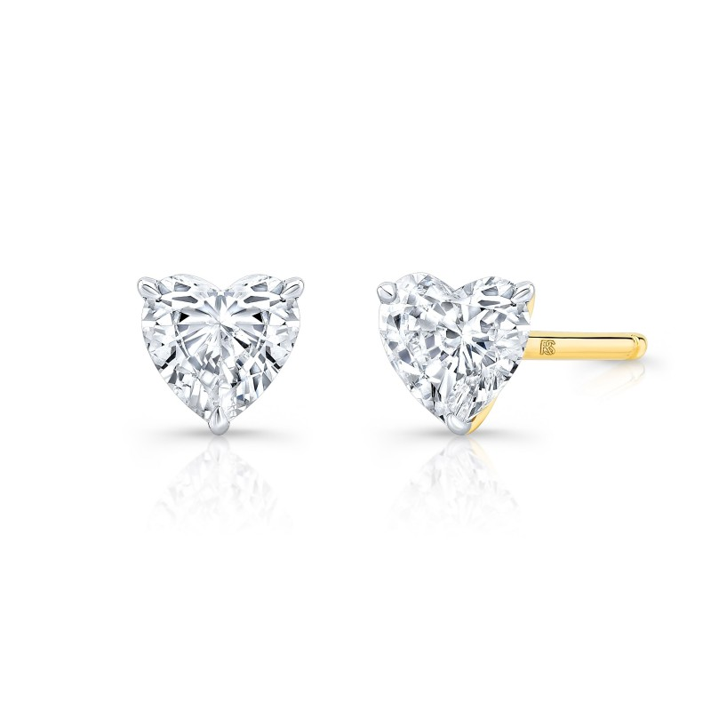 14k Yellow Gold Floating Heart Cut Diamond Stud Earrings