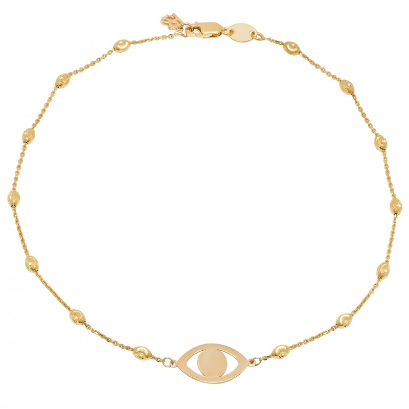14k Yellow Gold Evil Eye Beaded Chain Anklet