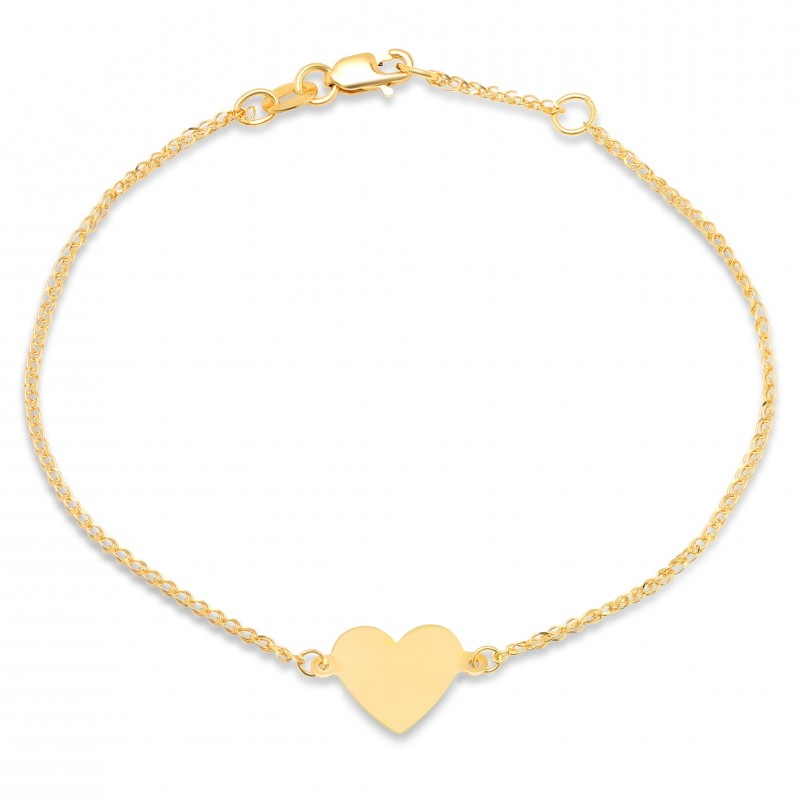 14k Yellow Gold Floating Heart Bracelet