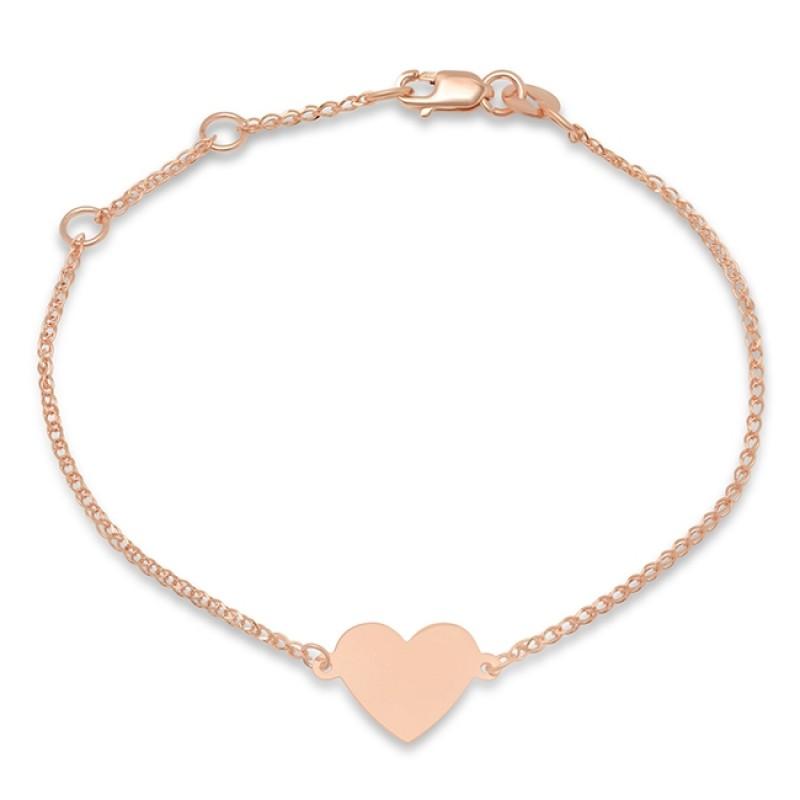 Kids' 14k Rose Gold Floating Heart Bracelet