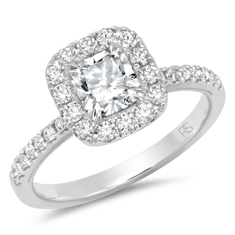 14k White Gold Cushion Shape Diamond Halo Ring