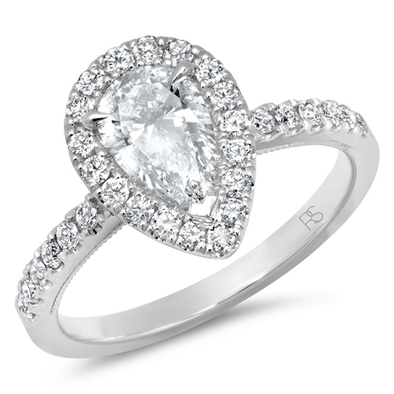 14k White Gold Diamond Halo Pear Cut Engagement Ring