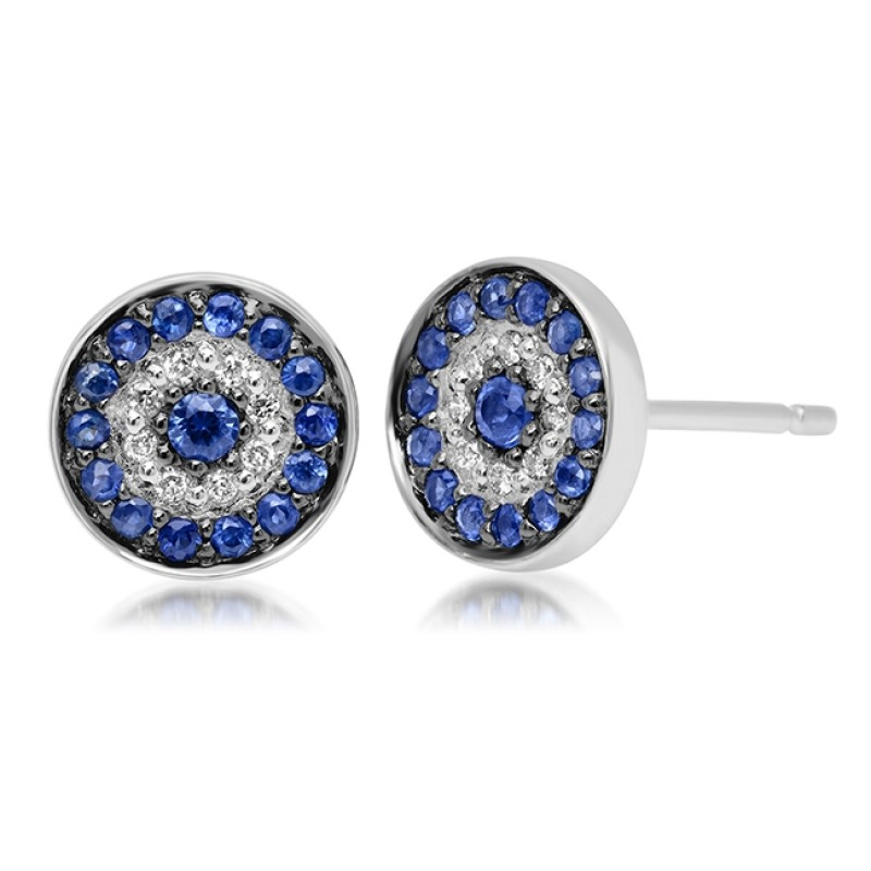 14k White Gold Diamond Sapphire Evil Eye Disc Stud Earrings