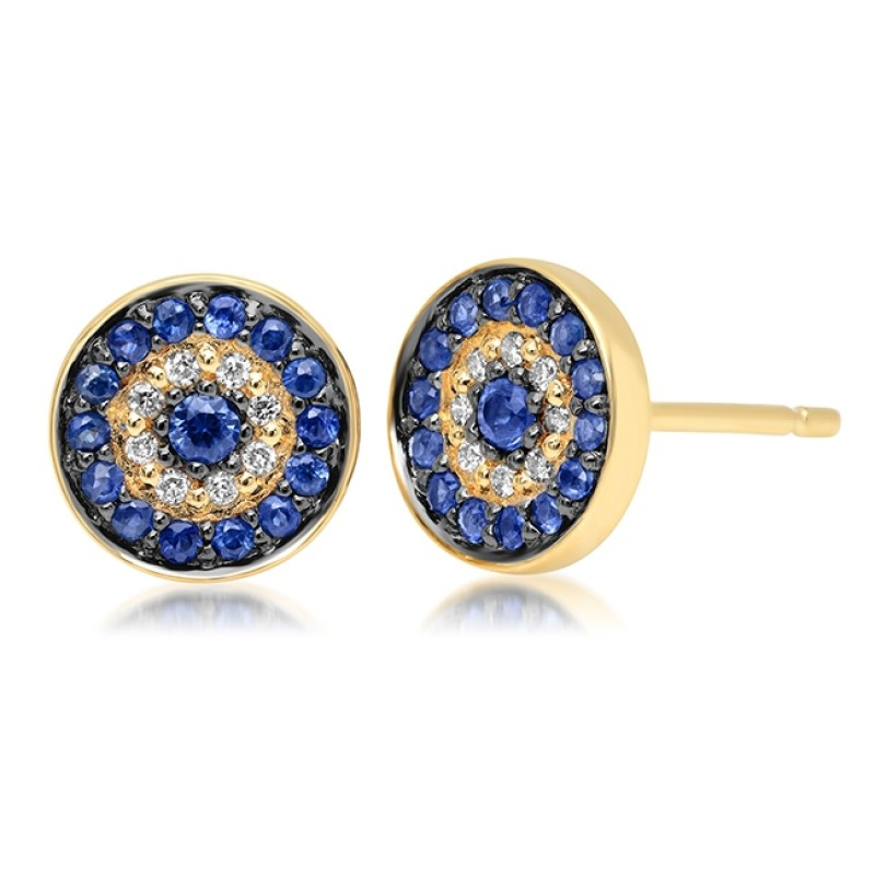 14k Yellow Gold Diamond Sapphire Evil Eye Disc Stud Earrings