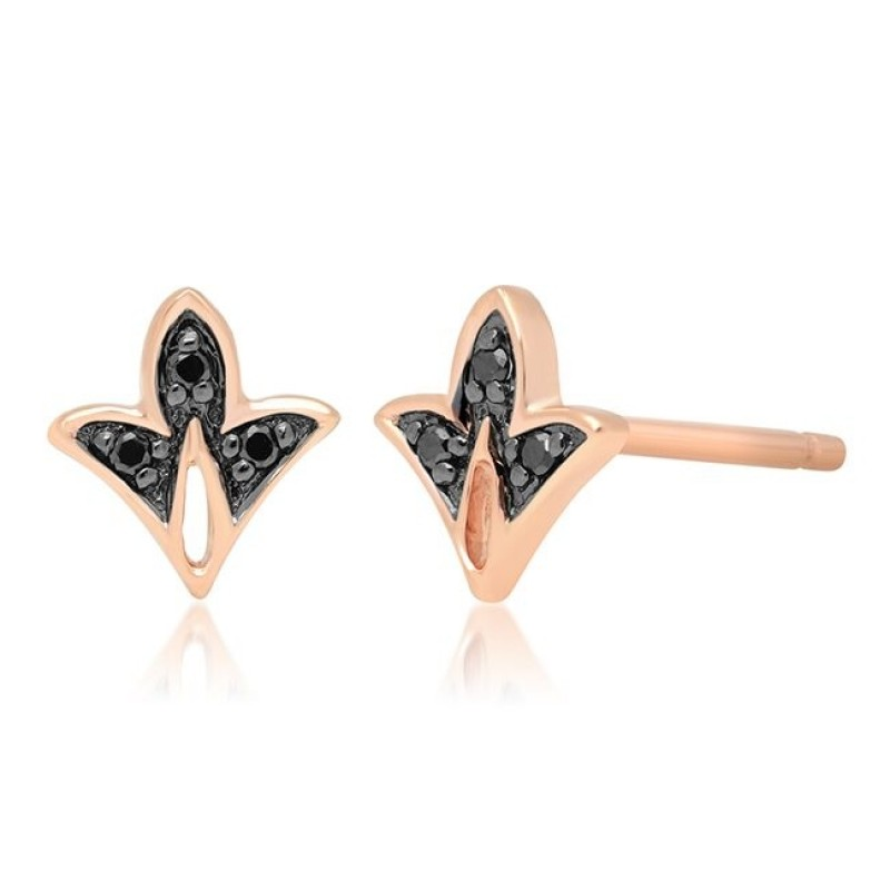 14k Rose Gold Black Diamond Mini Leaf Stud Earrings
