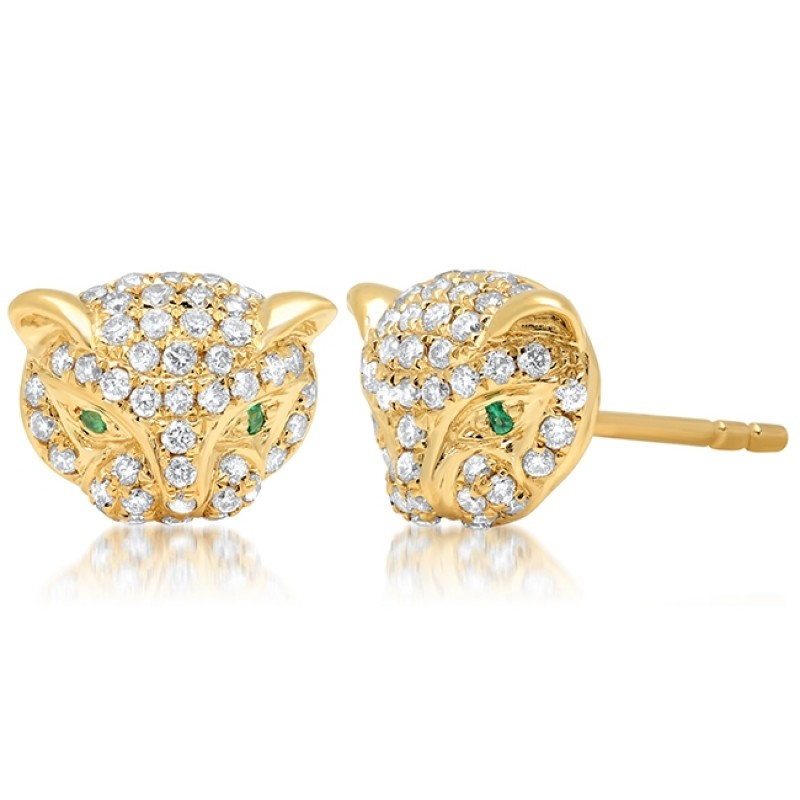 14k Yellow Gold Diamond Emerald Panther Stud Earrings