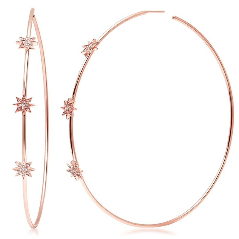 14K Rose Gold Diamond Starburst Hoops