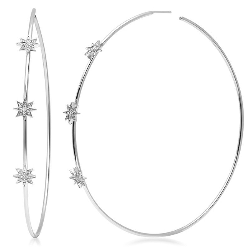 14K White Gold Diamond Starburst Hoop Earrings