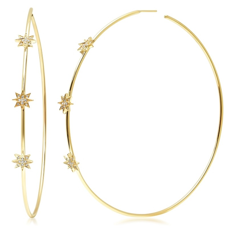 14K Yellow Gold Diamond Starburst Hoop Earrings