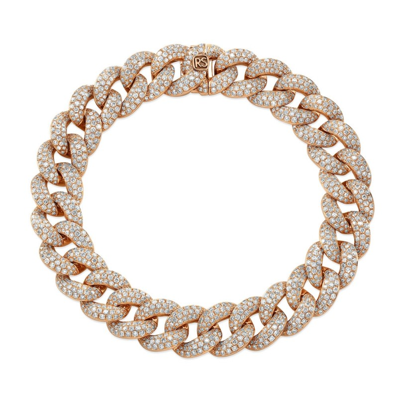 14k Rose Gold Pave Diamond Jumbo Cuban Link Bracelet