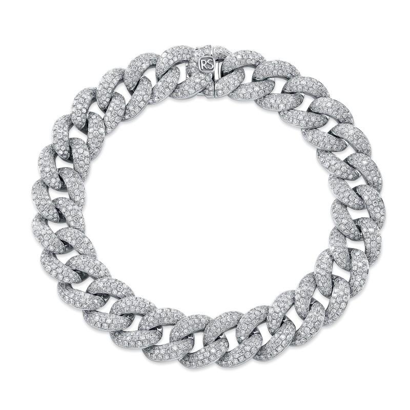 14k White Gold Pave Diamond Jumbo Cuban Link Bracelet