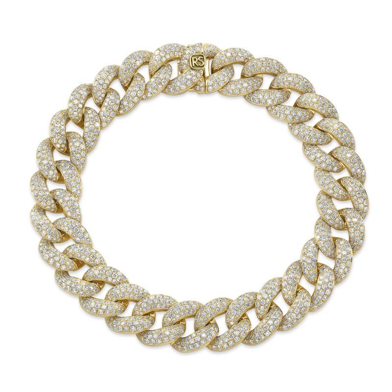 14k Yellow Gold Pave Diamond Jumbo Cuban Link Bracelet