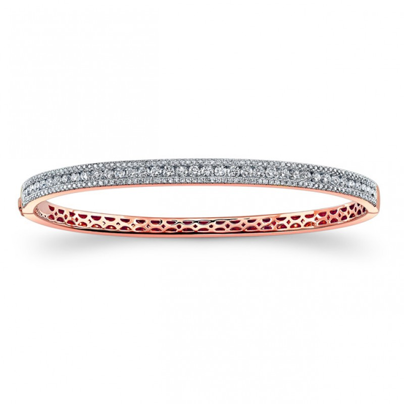 14k Rose Gold Diamond Stackable Bangle