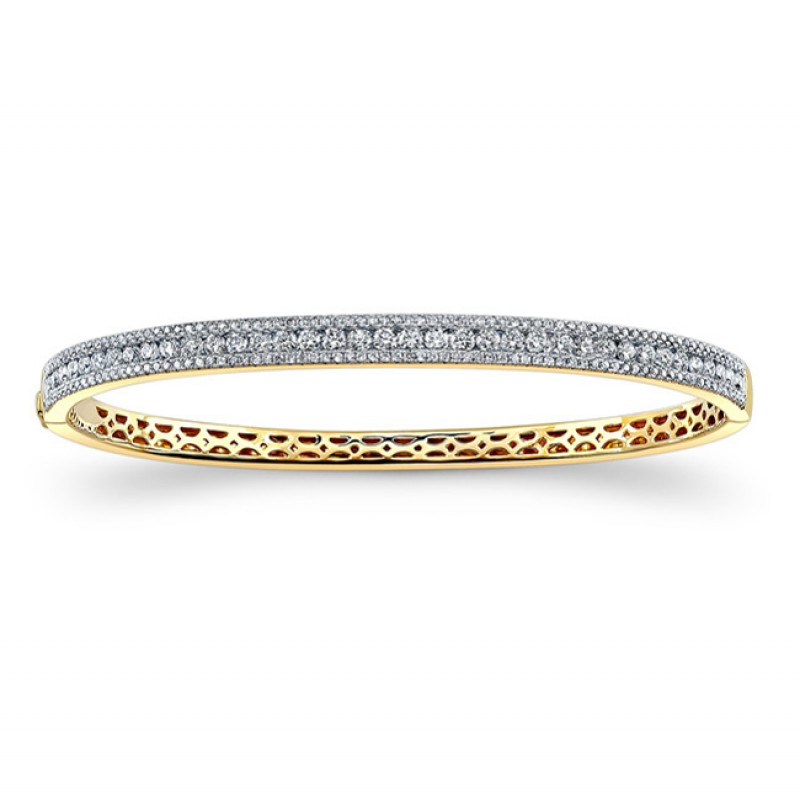 14k Yellow Gold Diamond Stackable Bangle