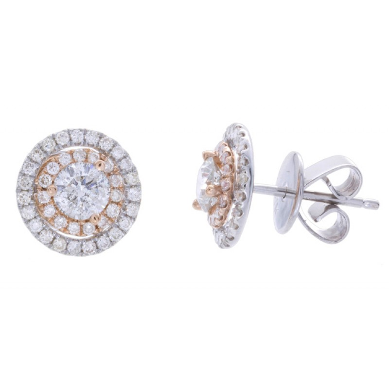 14k Rose and White Gold Diamond Double Halo Stud Earrings