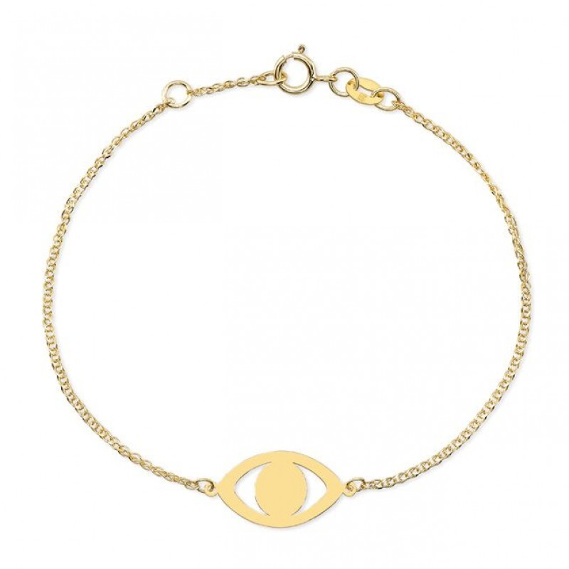 14k Yellow Gold Evil Eye Bracelet