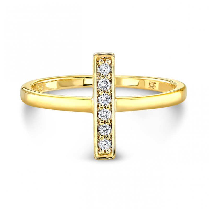 14k Yellow Gold Diamond Mini Bar Ring