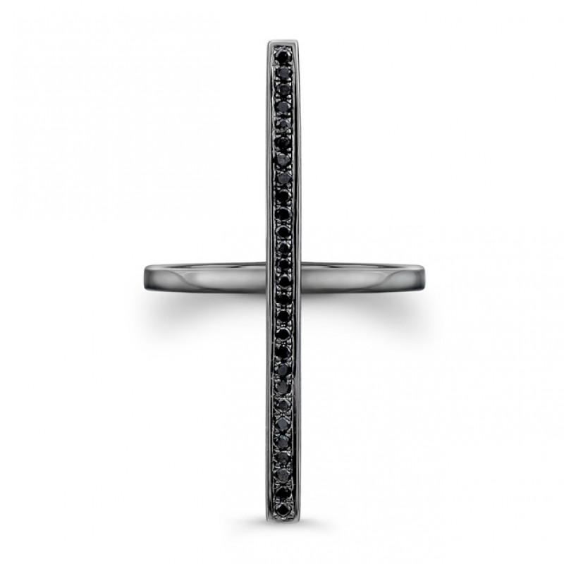 14k Black Gold Black Diamond Long Bar Ring