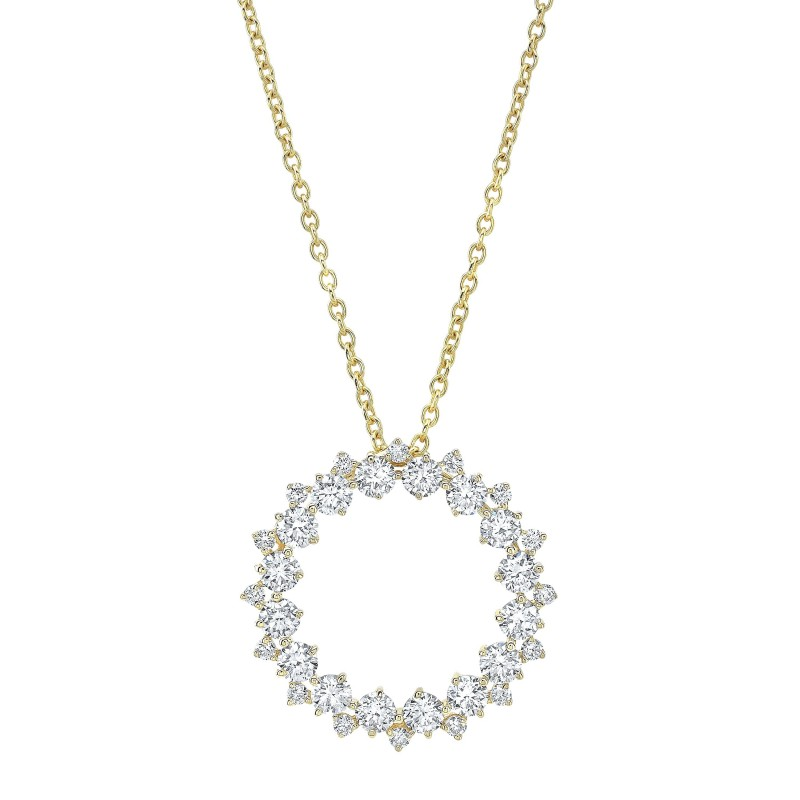 14k Yellow Gold Diamond Eternity Necklace