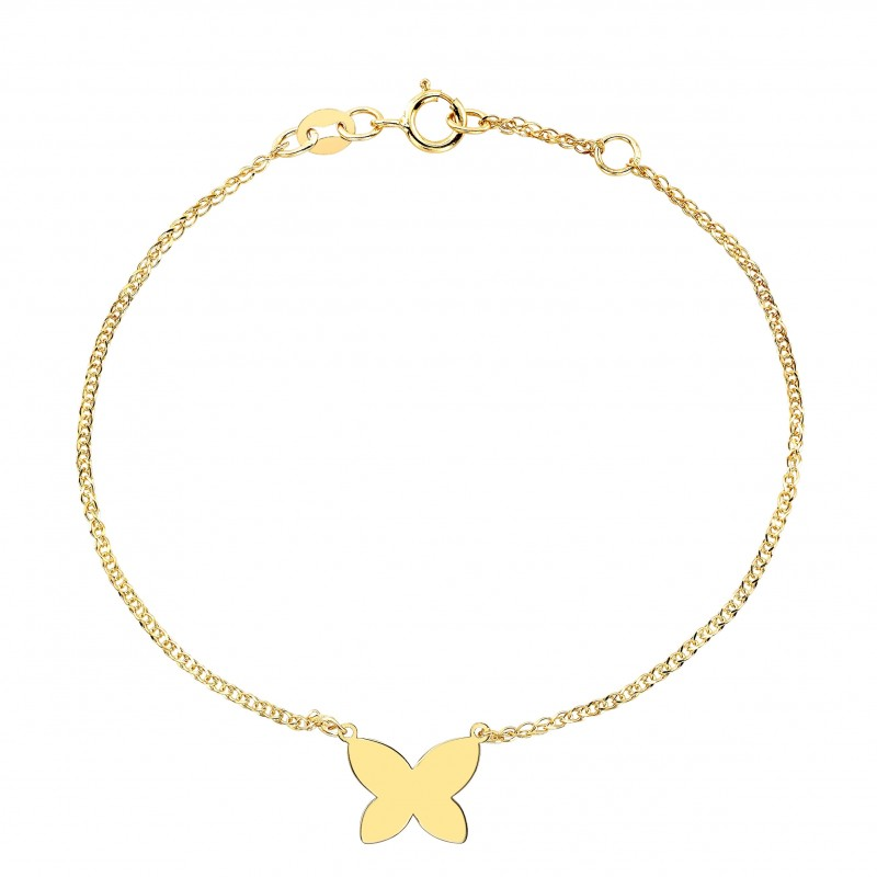 Kids' 14k Yellow Gold Floating Butterfly Bracelet
