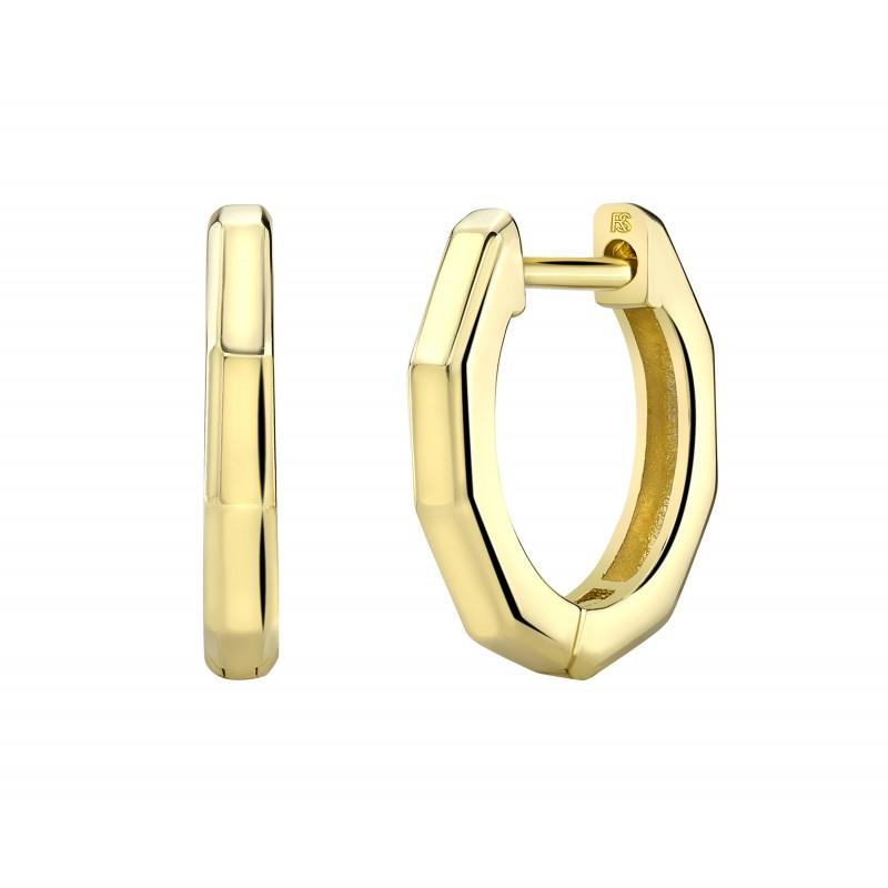 14k Yellow Gold Angled Huggie Hoop Earrings