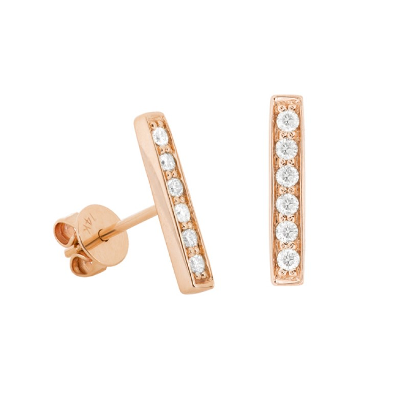 14k Rose Gold Diamond Pave Bar Stud Earrings