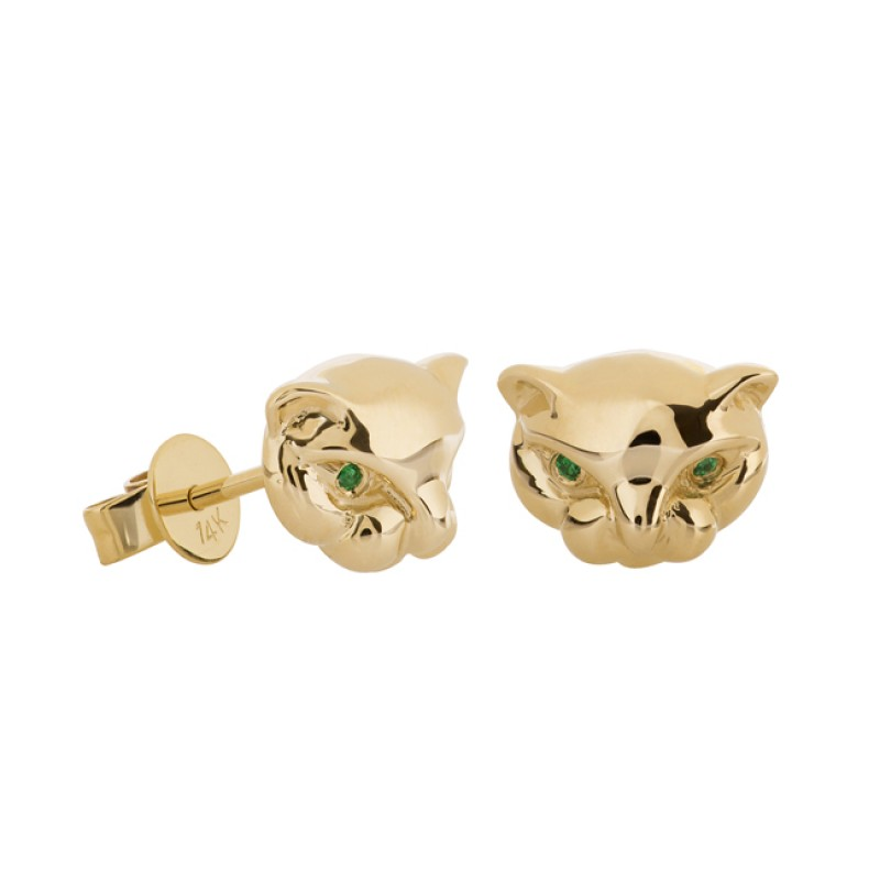 14k Yellow Gold Emerald Panther Stud Earrings
