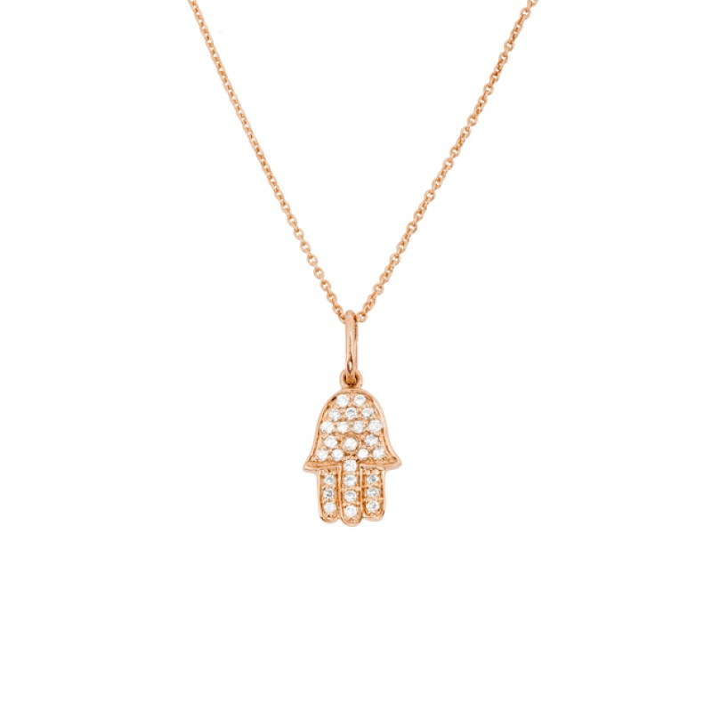 14k rose gold diamond hamsa hand of fatima necklace mozeypictures Image collections