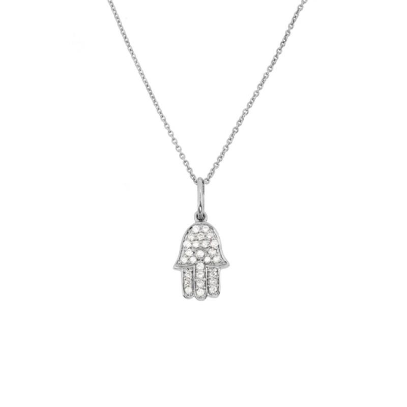 14k White Gold Diamond Hamsa Hand Necklace
