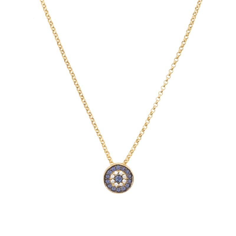 14k Yellow Gold Diamond Sapphire Evil Eye Disc Necklace