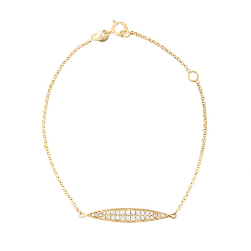 14k Yellow Gold Diamond Marquise Bar Bracelet