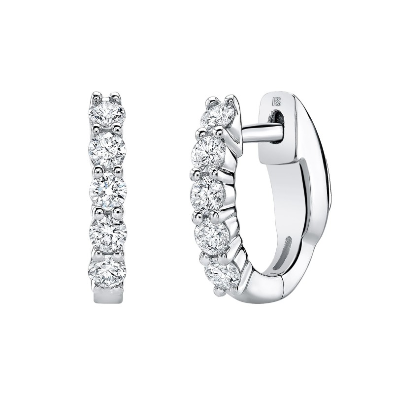 14k White Gold Diamond Eternity Huggie Hoops with Security Latch