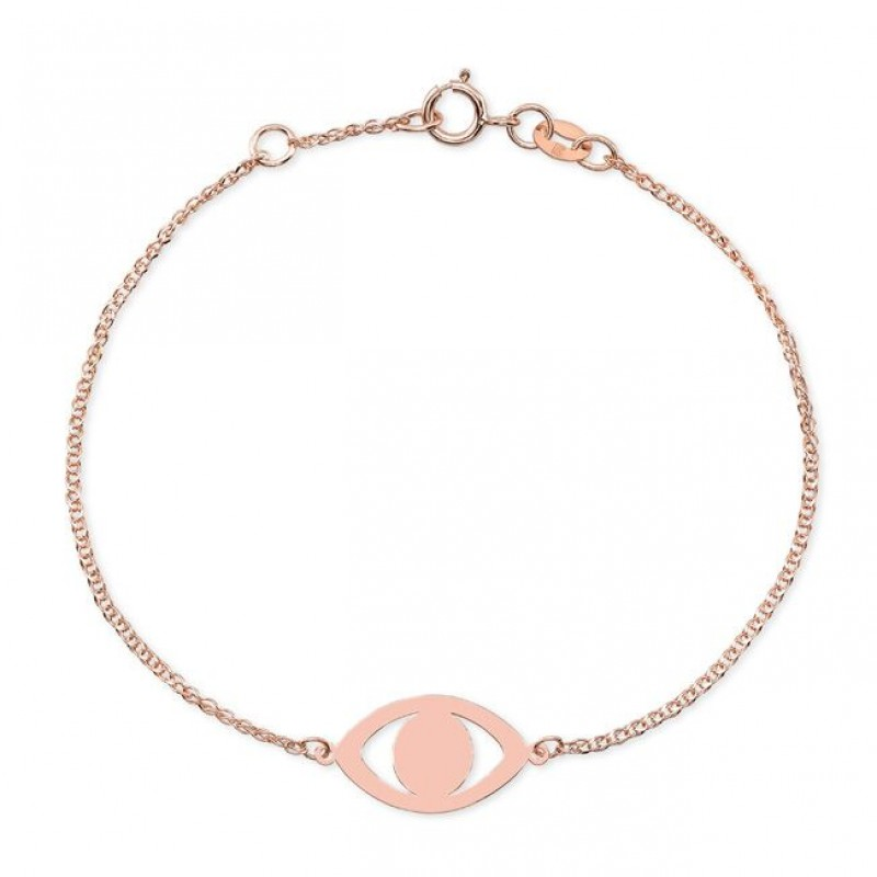 Kids' 14k Rose Gold Evil Eye Bracelet