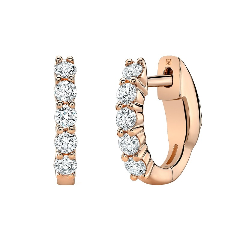 14k Rose Gold Diamond Eternity Huggie Hoops with Security Latch