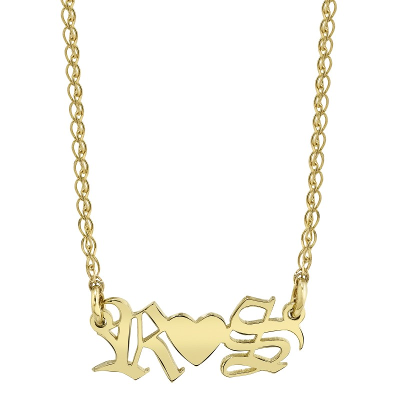 14k Yellow Gold Personalized Old English Nameplate Necklace