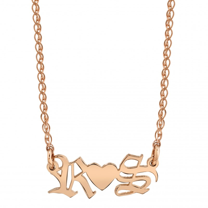 14k Rose Gold Personalized Old English Nameplate Necklace