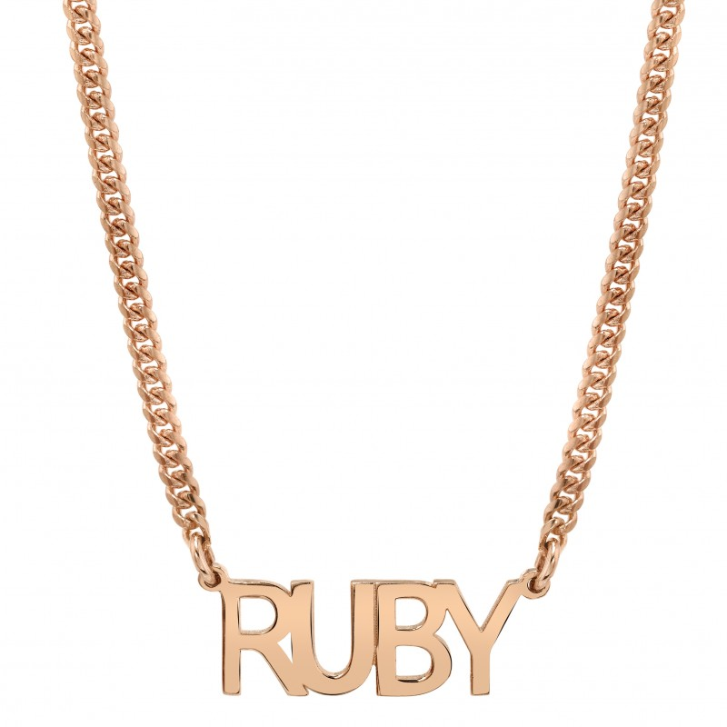 14k Rose Gold Mini Cuban Link Personalized Block Nameplate Necklace