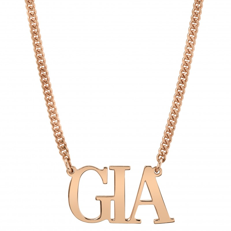 14k Rose Gold Mini Cuban Link Personalized Large Nameplate Necklace