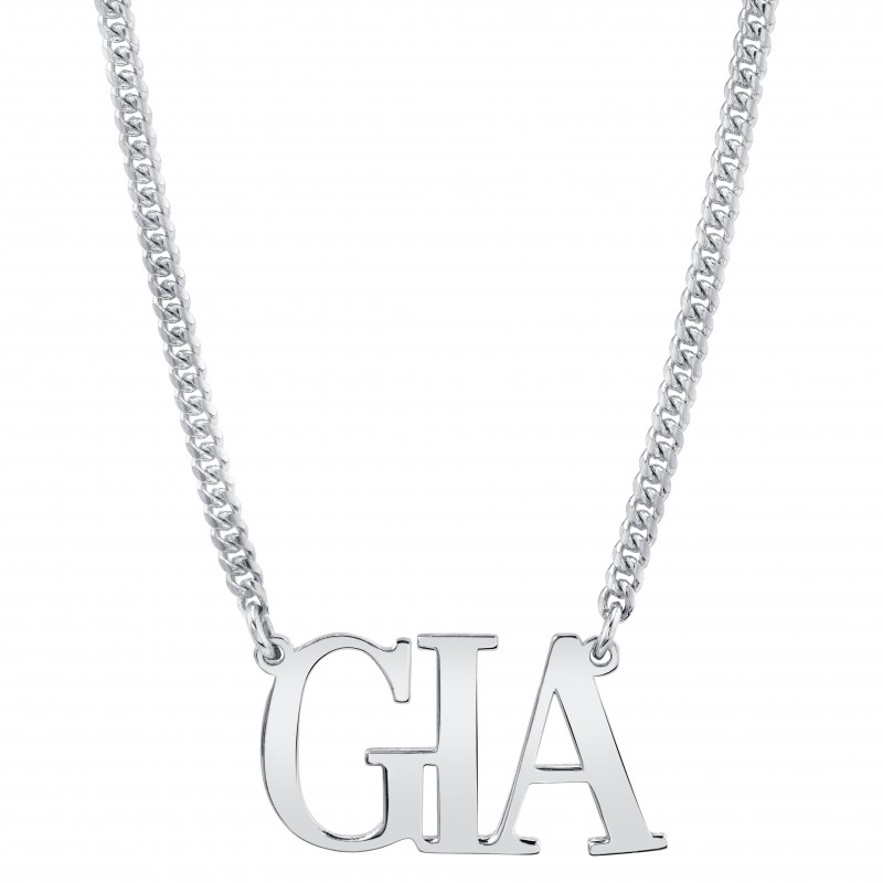 14k White Gold Mini Cuban Link Personalized Large Nameplate Necklace