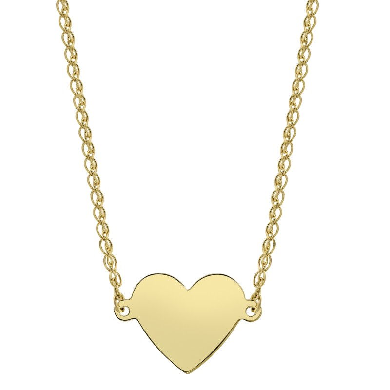 14k Yellow Gold Floating Heart Necklace