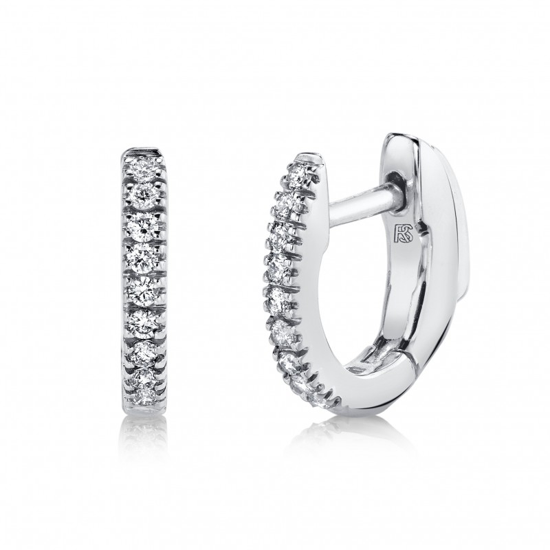 14K White Gold Diamond Huggie Hoops with Security Latch