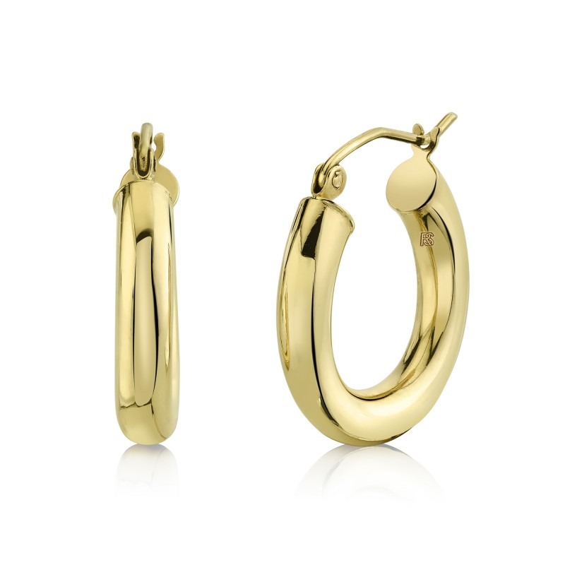 14K Yellow Gold Mini Tube Hoops