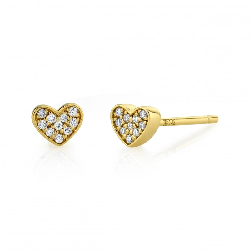 14k Yellow Gold Diamond Mini Heart Earrings
