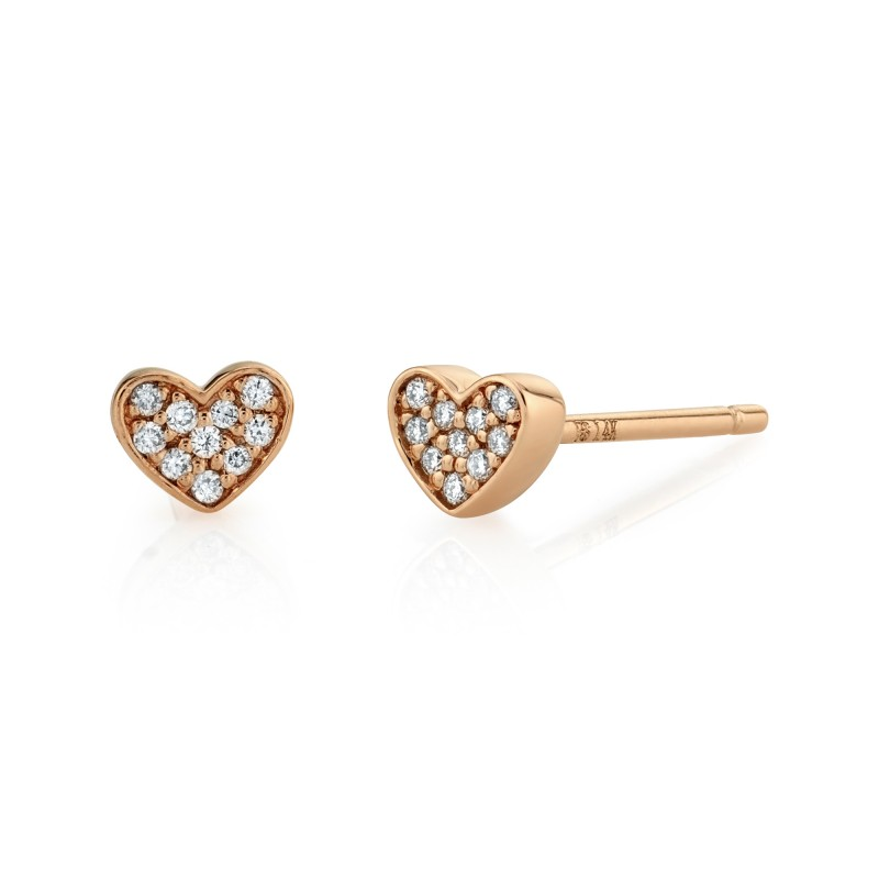14k Rose Gold Diamond Mini Heart Earrings