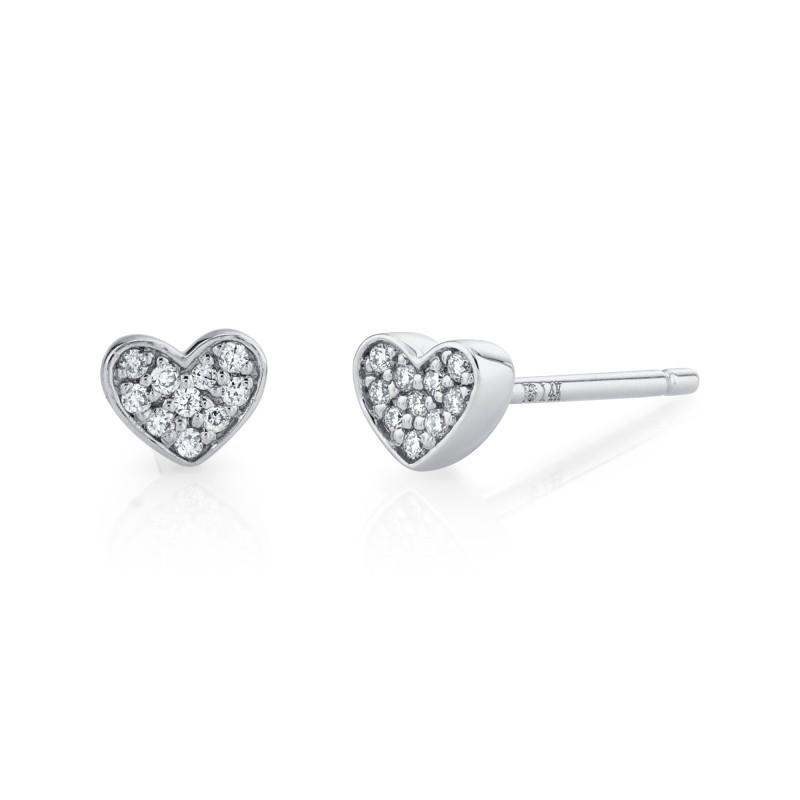 14k White Gold Heart Diamond Earrings