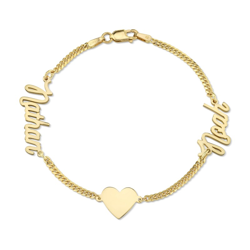 14k Yellow Gold Mini Cuban Link Personalized Script Nameplate Floating Heart Bracelet