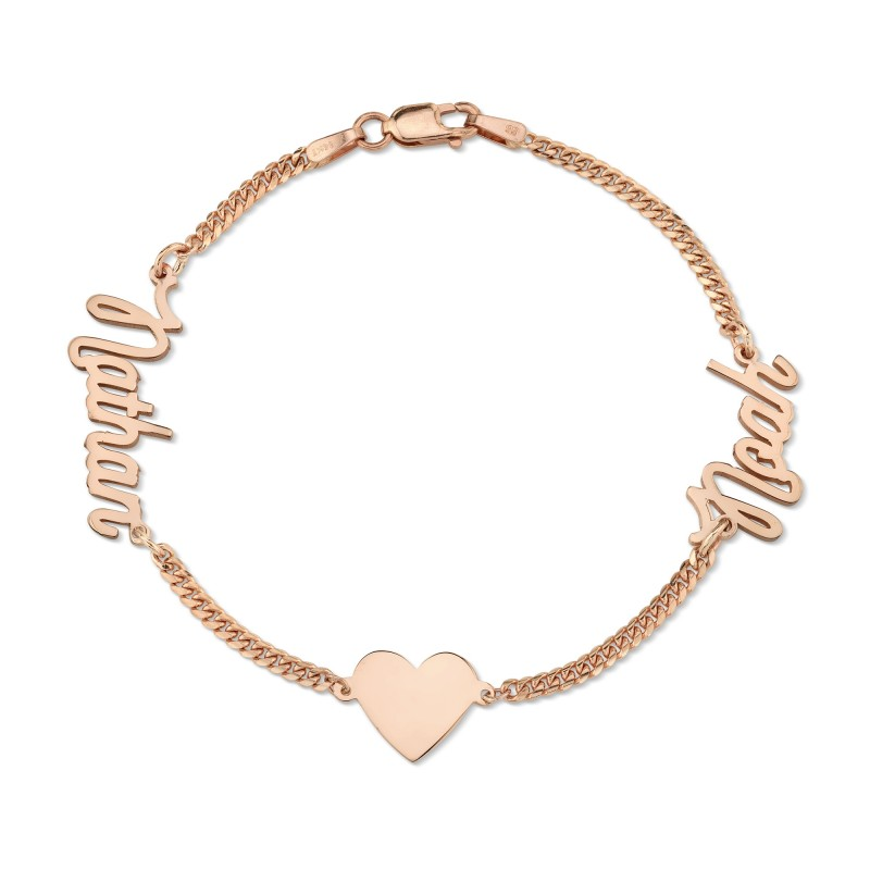 14k Rose Gold Mini Cuban Link Personalized Script Nameplate Floating Heart Bracelet