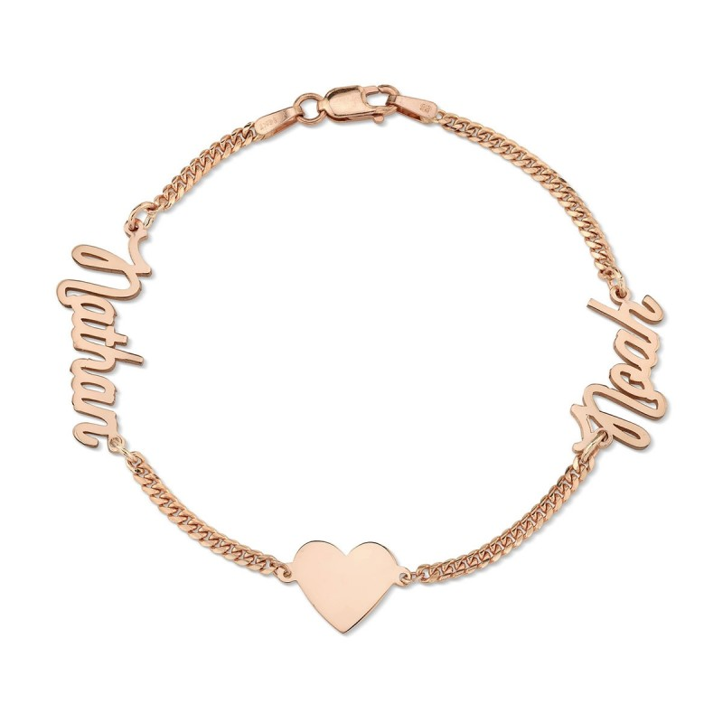 14k Rose Gold Mini Cuban Link Personalized Script Nameplate Floating Heart Bracelet