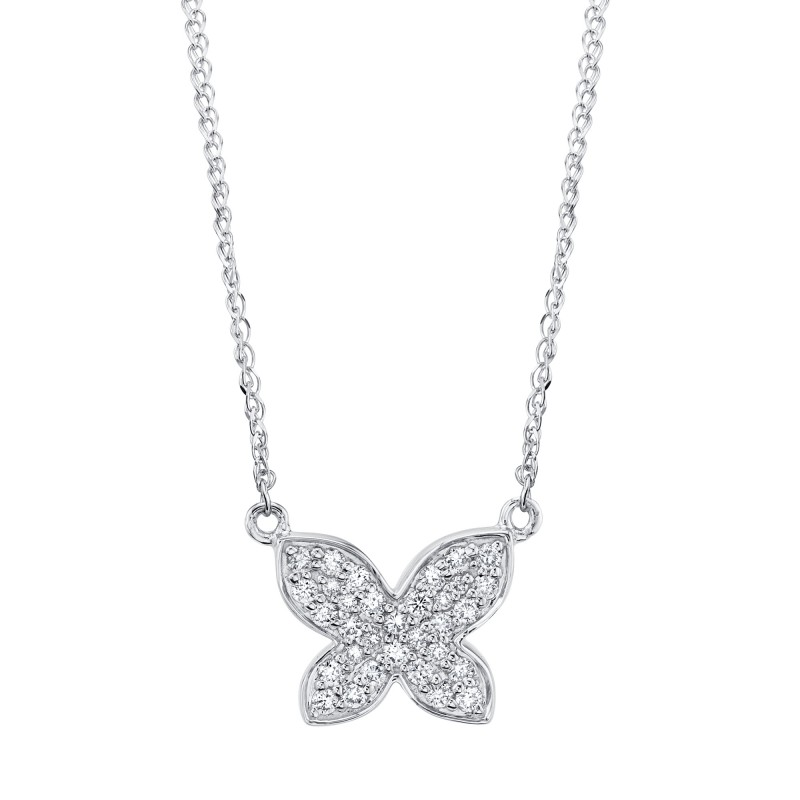 Kids' 14k White Gold Diamond Butterfly Necklace