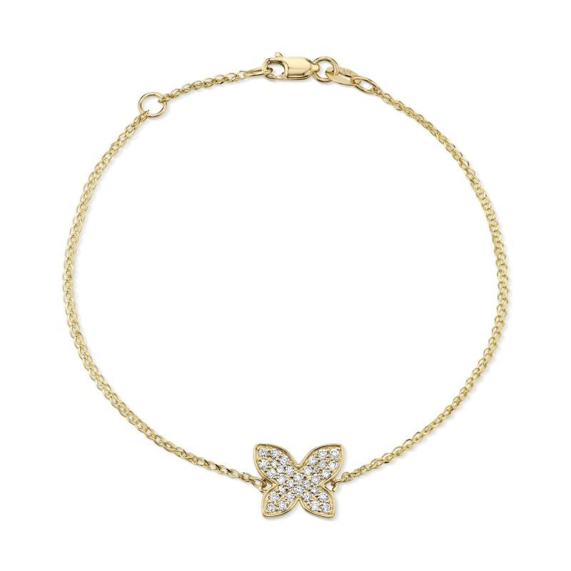 14k Yellow Gold Diamond Floating Butterfly Bracelet